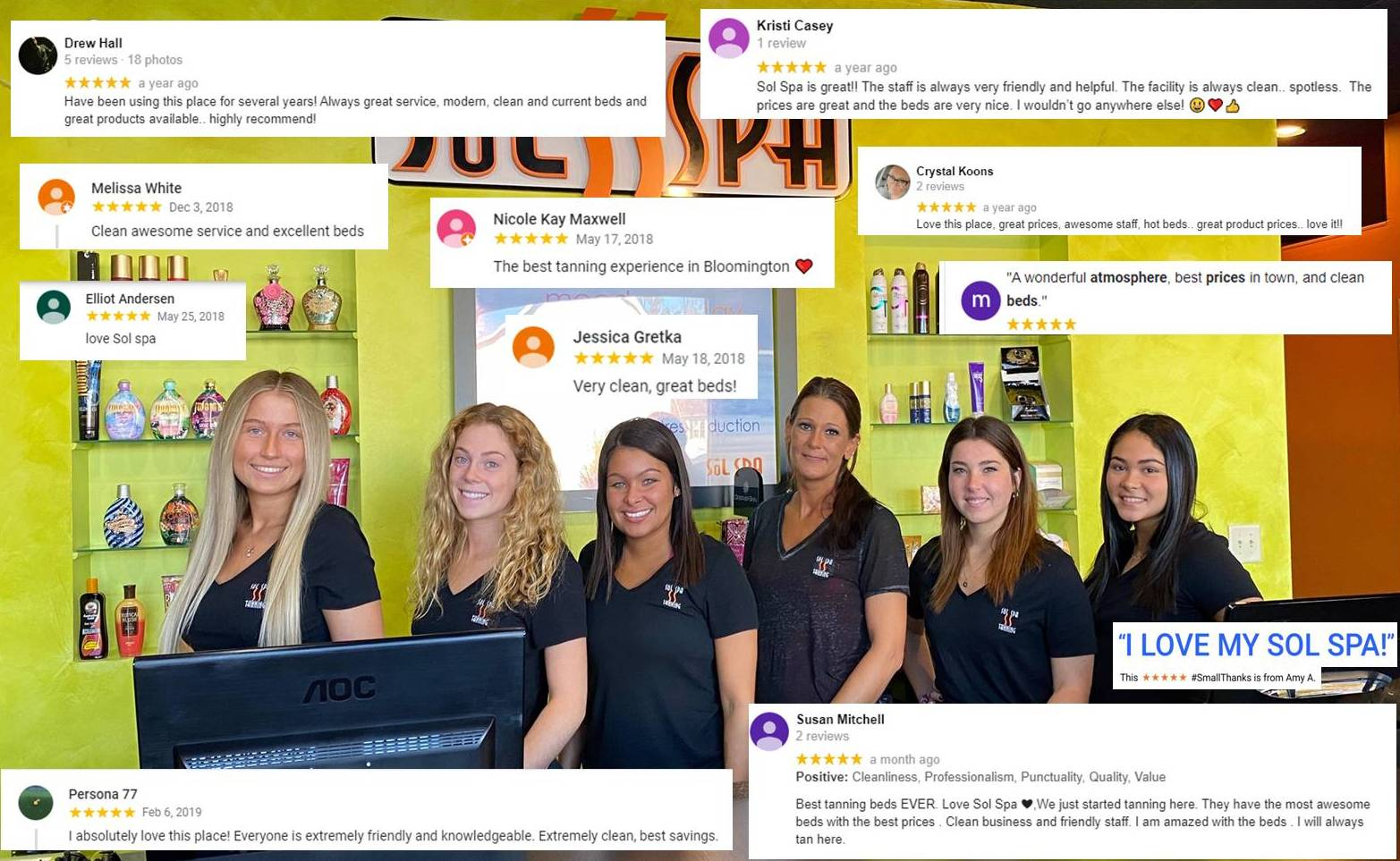 Check out our google reviews - We try hard to be the best tanning salon in town.
